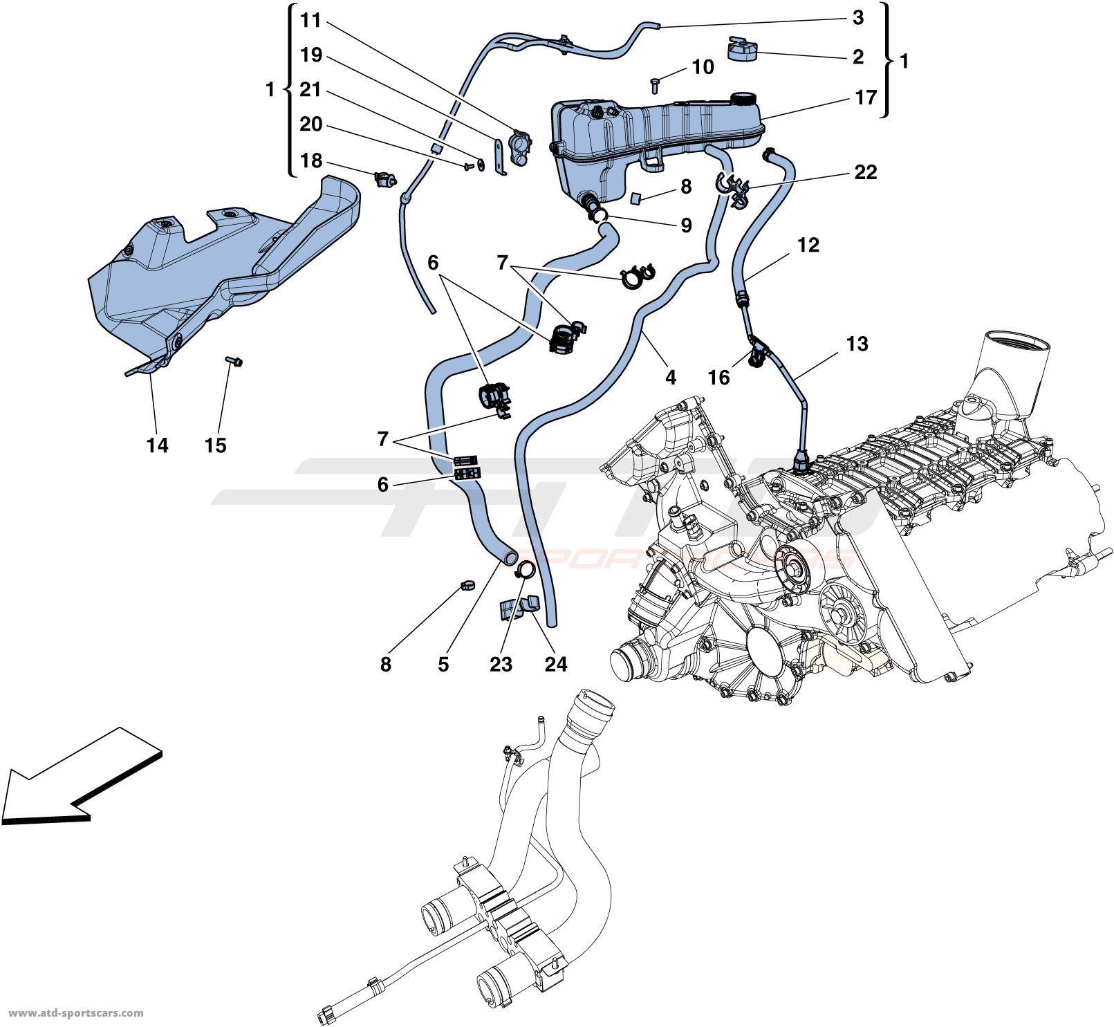 Ferrari 458 Italia COOLING - HEADER TANK AND PIPES | ATD-Sportscars